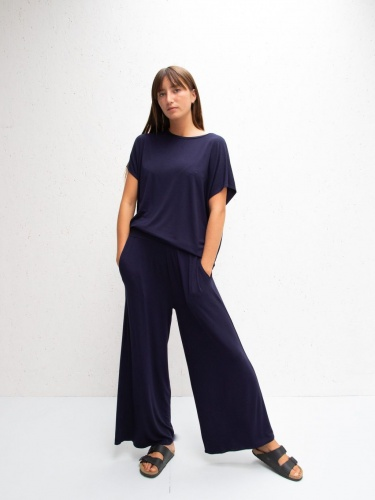 Luna Jersey Drape Wide Leg Trousers Navy by ChalkUK