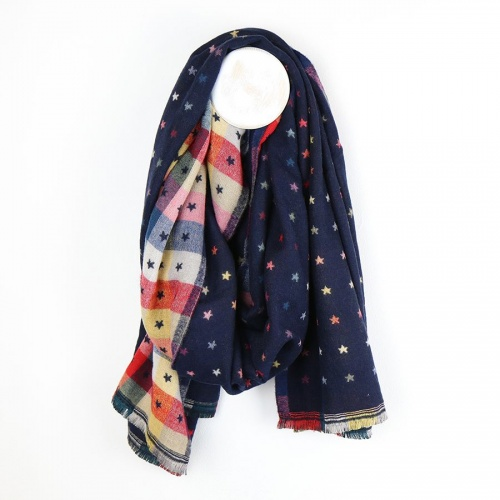 Navy Blue, Multi Check, Little  Jacquard Star Scarf by Peace of Mind