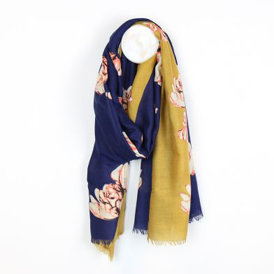 Diagonal Navy & Mustard Floral Scarf by Peace of Mind