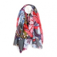 Grey Mix Tropical Print Scarf by Peace of Mind