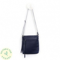 Navy Blue Cross Body Vegan Leather Bag by Peace of Mind