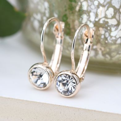 Rose Gold Plated and Clear Crystal Drop Earrings by Peace Of Mind