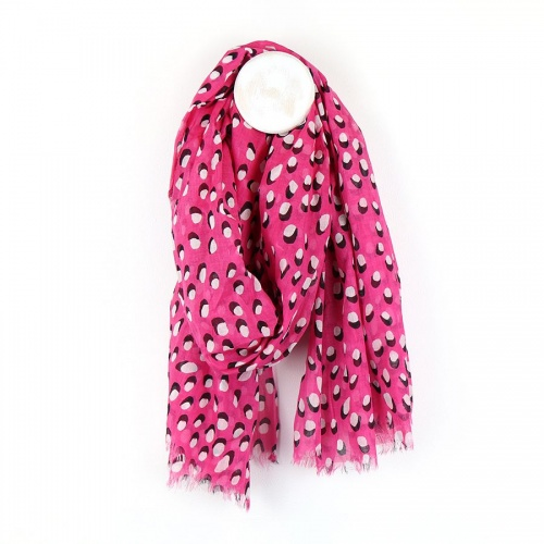 Pink Cotton Scarf with Shadow Dot Print by Peace of Mind