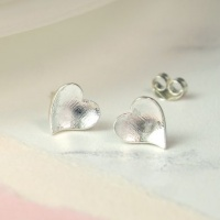 Sterling Silver Concave Heart Earrings by Peace of Mind
