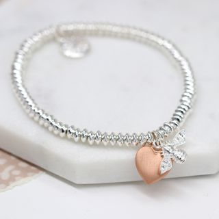 Silver Plated Bead Bracelet with Rose Gold Plated Heart and Bee by Peace Of Mind