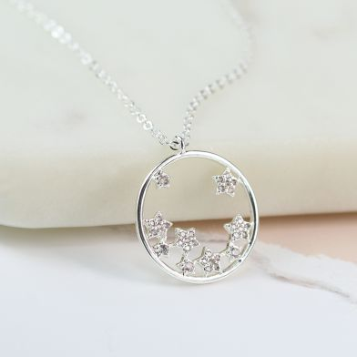 Silver Plated Circle and Crystal Stars Necklace by Peace Of Mind