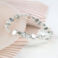 Silver Plated Irregular Bead Stretch Bracelet by Peace of Mind