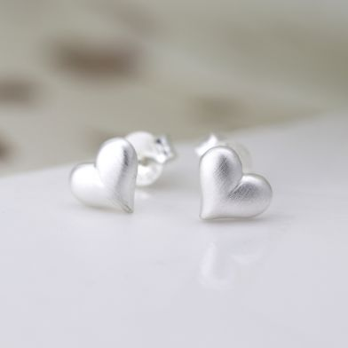 Sterling Silver Brushed Heart Stud Earrings by Peace Of Mind