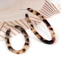 Animal Print Resin Oval Hoop Earrings by Peace of Mind