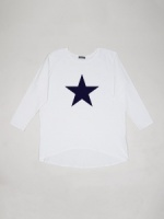 Robyn Top White with Navy Star by ChalkUK