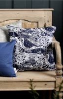 Navy Garden Bird Cushion by Sam Wilson Studio