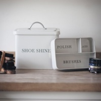 Steel Shoe Shine Box with Lid Chalk by Garden Trading