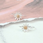 Sterling Silver & Rose Gold Plated Daisy Drop  Earrings by Peace Of Mind