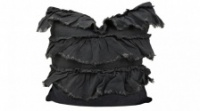 Charcoal Linen Frill cushion by Raine & Humble