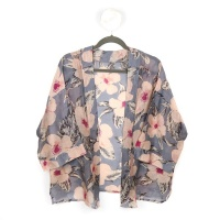 Grey and Pink Floral print kimono by Peace Of Mind