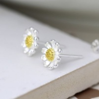 Sterling Silver and Yellow Gold Daisy Earrings by Peace Of Mind