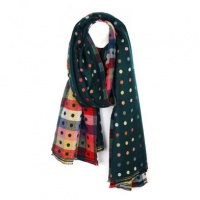 Green Dotty Jacquard Scarf by Peace of Mind