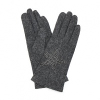 Grey Wool Gloves with Embellished Star by Peace Of Mind