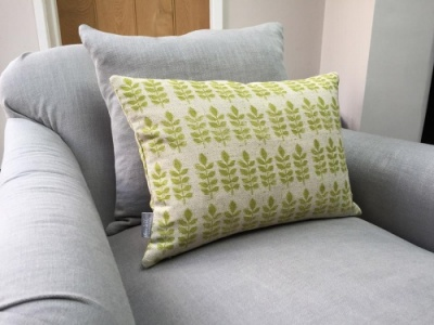 Leaf print natural linen rectangular cushion by Sam Wilson Studio