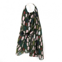 Recycled Khaki Scarf with Oval Print by Peace of Mind