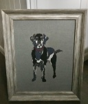 Exclusive Framed Embroidery ''Labrador'' on Grey by Ema Corcoran for Hilly Horton Home
