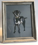 Exclusive Small, Framed, Embroidery Print ''Labrador'' on Grey by Ema Corcoran for Hilly Horton Home