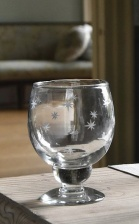 Red Wine Glass with Etched Stars by Grand Illusions