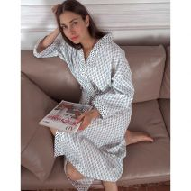 Cotton Kimono Gown with Dotty Trim by Biggie Best