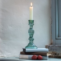 Green Bella Glass Candlestick by Grand Illusions