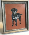 Exclusive, Framed Embroidery Print  ''Labrador'' on Burnt Orange by Ema Corcoran for Hilly Horton Home