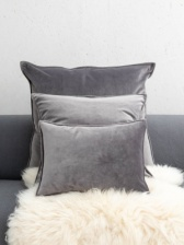 Oblong Charcoal Velvet Cushion by ChalkUK