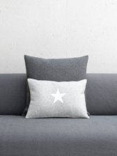 Oblong Felt Silver Cushion with White Star by ChalkUK