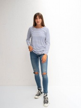 Tasha Blue Stripe Top by Chalk UK