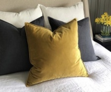 Square Mustard Velvet Cushion by ChalkUK