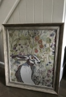 Extra Large Framed Embroidery ''Hector Hare'' by Ema Corcoran at The Hare in The Sweater