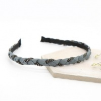 Grey Crystal Braided Headband by Peace Of Mind