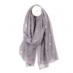 Grey Scarf with Silver Bee Print by Peace of Mind