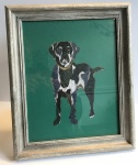Exclusive Framed Embroidery Print ''Labrador'' on Jade by Ema Corcoran for Hilly Horton Home