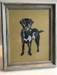 Exclusive Framed Embroidery Print ''Labrador'' on Mustard by Ema Corcoran for Hilly Horton Home