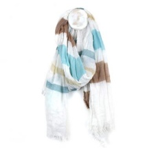 Fine White Scarf with Blue & Taupe Stripes by Peace of Mind