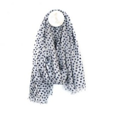 White Cotton Scarf with Navy Stars by Peace of Mind