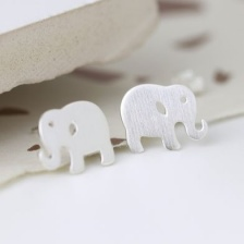 Sterling Silver Elephant Stud Earrings by Peace Of Mind