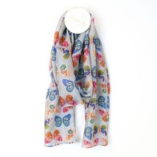 Multicolour Grey Silk Butterfly Print Scarf by Peace of Mind