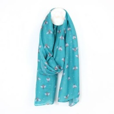 Recycled Turquoise Bee Print Scarf by Peace of Mind