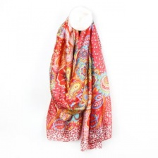 Red & Orange Mix Paisley Pattern Silk Feel Scarf by Peace of Mind