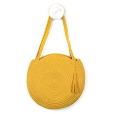 Round Cotton Rope Bag in Mustard Yellow by Peace of Mind
