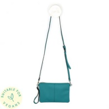Vegan Leather Sea Green Convertable Clutch Bag by Peace of Mind