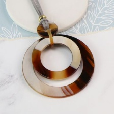 Taupe Acrylic Hoop Necklace by Peace of Mind