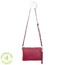 Vegan Leather Magenta Convertable Clutch Bag by Peace of Mind