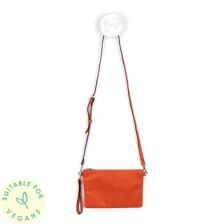 Vegan Leather Orange Convertable Clutch Bag by Peace of Mind